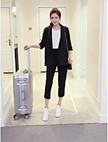 Women's Casual/Daily Simple Spring / Fall Pant Suits,Solid Peaked Lapel ½ Length Sleeve Black Polyester