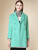 DOF Women's Casual/Daily Simple CoatSolid Notch Lapel Long Sleeve Winter Green Cotton Medium
