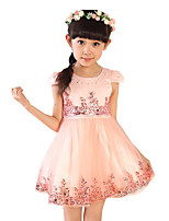 Girl's Casual/Daily Solid Dress,Imitation Silk Summer Short Sleeve