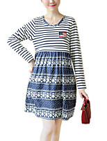 Maternity Print Denim Patchwork Stripe Casual/Daily Boho Loose Dress