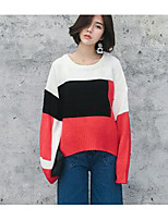 Women's Casual/Daily Simple Long Pullover,Color Block Blue / Red Round Neck Long Sleeve Acrylic Fall / Winter Medium Micro-elastic