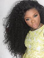 130% плотность Afro Kinky фигурная фронт бесклеевой кружева парики бразильские виргинские фронта шнурка человеческих волос парики для