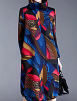 Ample Robe Femme Décontracté / Quotidien Vintage,Fleur Col Roulé Mi-long Manches Longues Bleu Polyester Automne Taille Normale
