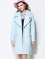 MEIDONGTAI Women's Plus Size / Casual/Daily Simple CoatSolid Notch Lapel Long Sleeve Winter Blue Polyester Thick