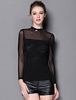 Tee-shirt Femme,Couleur Pleine / Mosaïque Sortie / Travail Sexy Printemps / Automne Manches Longues Mao Noir Polyester / Nylon / Spandex