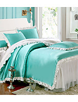Solid Duvet Cover Sets 1 Piece Faux Silk solid Quilted Faux Silk Queen 1pc Duvet Cover / 1pc Sham / 1pc Flat Sheet
