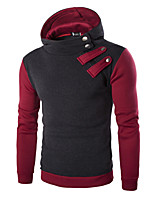 Men's Casual/Daily Sports Active Simple Hoodie Color Block Micro-elastic Cotton Long Sleeve Spring