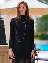 Polo Femme,Couleur Pleine Sortie simple Printemps / Automne Manches Longues Col Roulé Noir Laine / Cuirs Particuliers Moyen