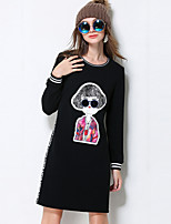 MEIDONGTAI Women's Plus Size / Casual/Daily Cute Shift DressPrint Round Neck Above Knee Long Sleeve Black Cotton / Polyester Fall / Winter Mid Rise