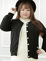 Women's Casual/Daily Plus Size Simple Regular Cardigan,Solid Black Round Neck Long Sleeve Cotton Polyester Fall Winter Medium Inelastic