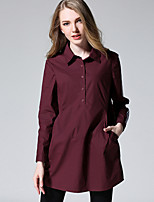 MEIDONGTAI Women's Plus Size / Casual/Daily Simple Fall ShirtSolid Shirt Collar Long Sleeve Red / Black Cotton Medium