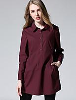 Chemise Femme,Couleur Pleine Décontracté / Quotidien / Grandes Tailles simple Automne Manches Longues Col de Chemise Rouge / Noir Coton