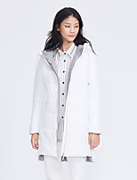 Metersbonwe Women's Long Padded CoatStreet chic Casual/Daily Solid-Polyester Polypropylene Long Sleeve Hooded White