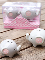 Recipient Gifts - 1box/Set - Mommy and Me Little Lucky Elephant Ceramic Salt and Pepper Shakers Favors