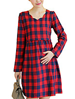 Maternity 'S V Neck Loose Check Long Sleeve Dress