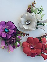 Wedding Flowers Roses Lilies Boutonnieres Wedding Party/ Evening Satin Rhinestone