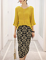 Women's Going out / Casual/Daily Vintage / Simple Fall / Winter Set Skirt Suits,Solid Round Neck ½ Length Sleeve Yellow Cotton Thick