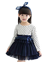 Girl's Casual/Daily Patchwork Dress,Cotton Blend Spring / Fall Long Sleeve