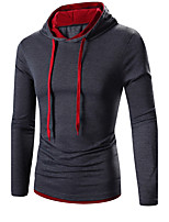 Men's Casual/Daily Simple Regular Hoodies Hooded Long Sleeve Cotton Spring / Fall Medium Micro-elastic