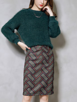 Polo Jupe Costumes Femme,Couleur Pleine Sortie simple Automne / Hiver Manches Longues Col Arrondi Bleu Polyester / Nylon Epais