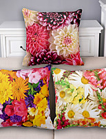 Flower Cotton Linen Throw Pillow Case Home Decorative  Cushion Cover Pillowcase Car Pillow cover(Set of 3)