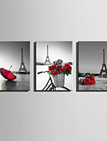 E-HOME Stretched Canvas Art A Touch Of Red Under The Tower Decoration Painting  Set Of 3