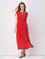 Swing Robe Femme Décontracté / Quotidien Chic de Rue,Couleur Pleine Col Arrondi Maxi Sans Manches Rouge / Blanc Polyester PrintempsTaille