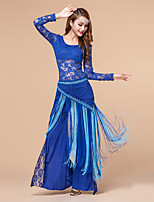 Belly Dance Outfits Women's Training Polyester / Lace 3 Piece Solid Long Sleeve Sexy Dance Costumes