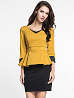 Women's Casual/Daily Simple Fall Skirt Suits,Solid V Neck ¾ Sleeve Red / Yellow Polyester