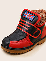 Boy's Sneakers Fall Winter Comfort PU Outdoor Casual Athletic Flat Heel Magic Tape Black Coffee Other