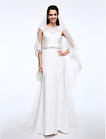 Lanting Bride® Sheath / Column Wedding Dress Sweep / Brush Train Bateau Lace with Button / Sash / Ribbon