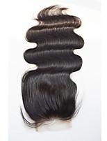 4x4 Fermeture Ondulation naturelle Cheveux humains Fermeture Brun roux Dentelle Suisse 20g-60g gramme Moyenne Cap Taille