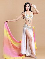 Belly Dance Outfits Women's Performance Spandex Polyester Sequins Split Front 3 Pieces Sleeveless Natural Waist Belt Skirt BraS: 93 M: 93