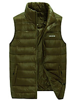 Men's Padded Coat,Simple Casual/Daily Solid-Polyester White Duck Down Sleeveless Blue / Red / Green