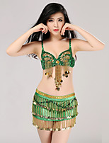 Belly Dance Outfits Women's Training Sequined Sequins 2 Pieces Sleeveless Natural Skirt / Bra