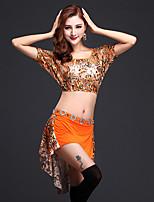Dança do Ventre Roupa Mulheres Treino Elastano / Fibra de Leite Leopardo 2 Peças Manga Curta Natural Saia / TopTop: 31cm; Skirt: 26/55cm