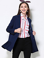 MEIDONGTAI Women's Plus Size / Casual/Daily Simple Trench CoatSolid Notch Lapel Long Sleeve Fall / Winter Blue Polyester Thick