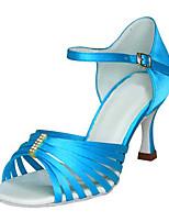 Для женщин Латина Шёлк Сандалии Концертная обувь С пряжкой На шпильке Синий 7,5 - 9,5 см Персонализируемая