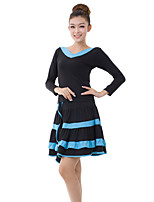Latin Dance Outfits Women's Training Milk Fiber Draped 2 Pieces Light Blue / Red Latin Dance Long Sleeve Top / Skirt