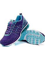 Women's Athletic Shoes Fall Winter Comfort Fabric Athletic Flat Heel Lace-up Blue Purple Black and White