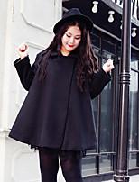 Feminino Casaco Casual Simples Outono / Inverno,Sólido Preto Acrílico Colarinho de Camisa-Manga Longa Grossa