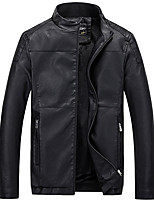 Men's Casual/Daily Simple Leather Jackets,Solid Long Sleeve Red / Black / Brown Polyester