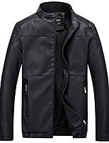 Мужчины На каждый день Однотонный Кожаные курткиПростое Красный / Черный / Коричневый Длинный рукав,Полиэстер