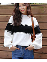 Women's Casual/Daily Simple Long Pullover,Color Block White / Black Round Neck Long Sleeve Rabbit Fur Fall / Winter Medium Micro-elastic