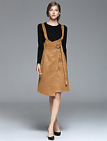 Women's Casual/Daily / Work / Going out Simple / Street chic Fall / Winter T-shirt Skirt Suits,Solid Round Neck Long Sleeve BrownCotton /