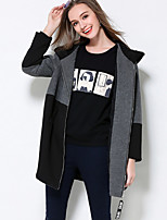 MEIDONGTAI Women's Plus Size / Casual/Daily Simple CoatColor Block Hooded Long Sleeve Winter Black Rayon / Nylon / Spandex Thick