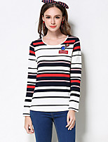 Women's Casual/Daily Simple Regular Pullover,Striped Blue Red Round Neck Long Sleeve Rayon Polyester Nylon Fall Medium Micro-elastic