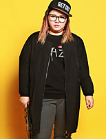 JAZZ  Women's Plus Size / Casual/Daily Simple Regular HoodiesLetter Black Round Neck Long Sleeve Polyester / Spandex Winter / Autumn Medium