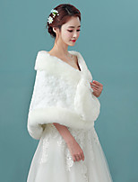 Women's Elegant Bridal Wrap Capelets Faux Fur Wedding / Party/Evening Folwers Winter Solid Thick White