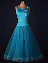 ריקודים סלוניים שמלות בגדי ריקוד נשים ביצועים ספנדקס / אורגנזה אפליקציות / קריסטלים / rhinestones / פרח (ים) חלק 1 בלי שרוולים גבוה שמלות